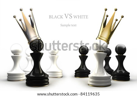 Pawn in a golden crown isolated on white 3d  ( high resolution ) - stock photo