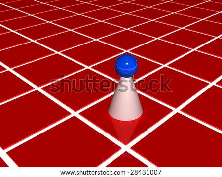 pawn on red grid - stock photo