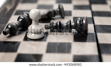 pawn opposition in the middle of the board - stock photo