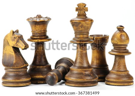 pawn sacrifice isolated on white background - stock photo