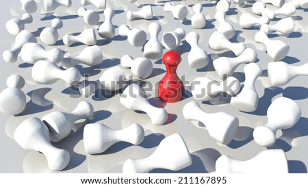 pawn stands out - red white - stock photo