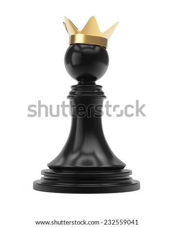 Pawn with crown isolated on white background. 3d render - stock photo