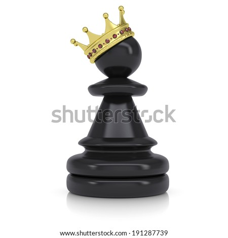 Pawn with gold crown. Isolated on white background - stock photo