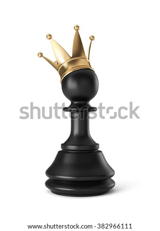 Pawn with golden crown , isolated on white , 3d render - stock photo