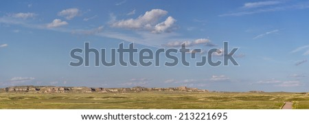 Pawnee National Grassland in northern Colorado  -  a panoramic view of short grass prairie and Chalk Bluffs