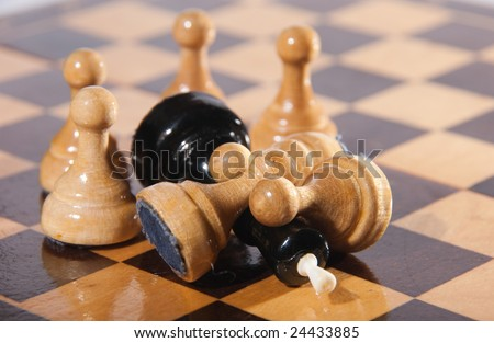 Pawns have won the king by numerical advantage - stock photo