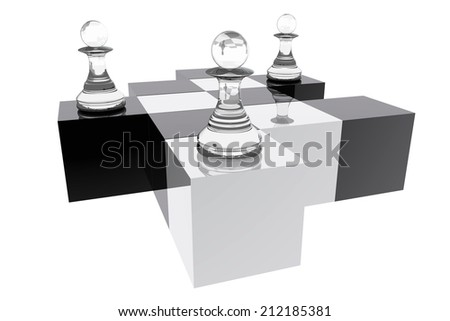 Pawns in abstract chess board - stock photo