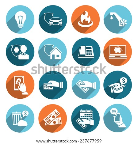 Pay bill online invoice and checks icons flat set isolated  illustration - stock photo