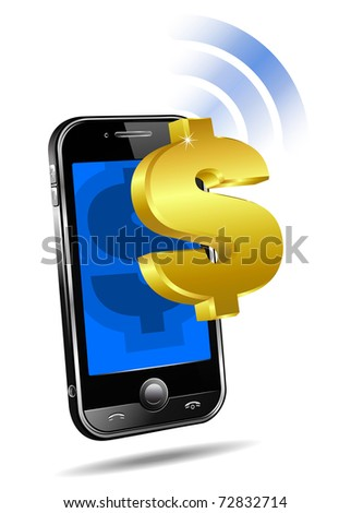 Pay by Mobile, Cell Smart Phone - raster version  - Mobile tariff and payment concept with money symbol for American Dollar