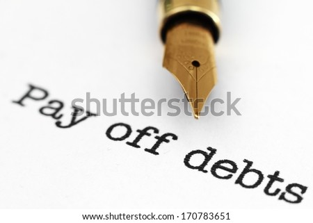 Pay of debts - stock photo
