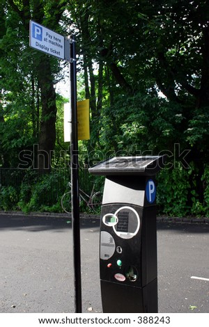 Pay parking machine - with display ticket notice - stock photo
