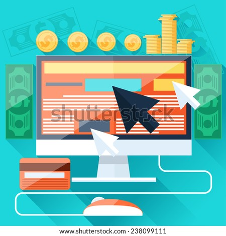 Pay per click internet advertising model when the ad is clicked. Monitor with button buy modern flat design cartoon style. Raster version - stock photo