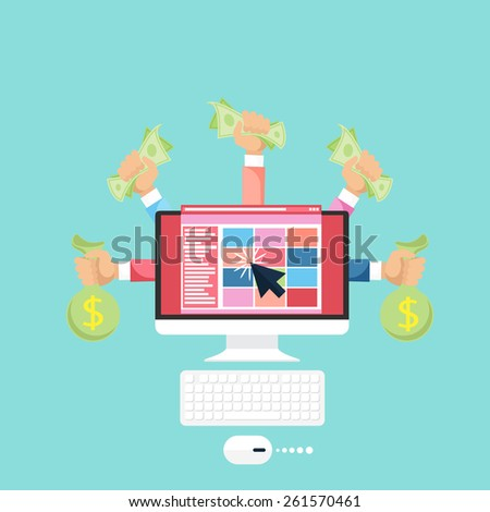 Pay per click internet advertising model when the ad is clicked. Monitor with money in hands modern flat design cartoon style. Raster version - stock photo