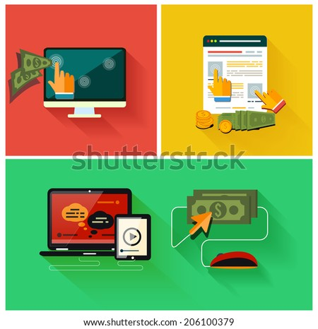 Pay per click internet advertising model when the ad is clicked. Set for web and mobile applications in modern flat design - stock photo