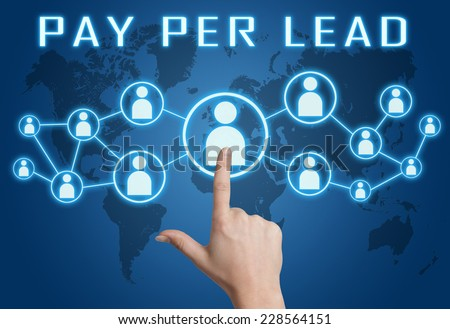 Pay per Lead concept with hand pressing social icons on blue world map background. - stock photo