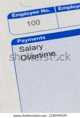 Pay slip close up macro shot - stock photo