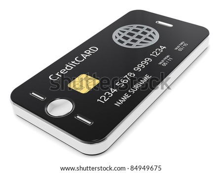 Pay with your Phone. Credit Card plus Mobile Phone equals - stock photo