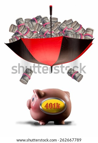 Payday of cash into 401K pink piggy bank. - stock photo