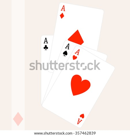 Paying Card Aces Raster Illustration