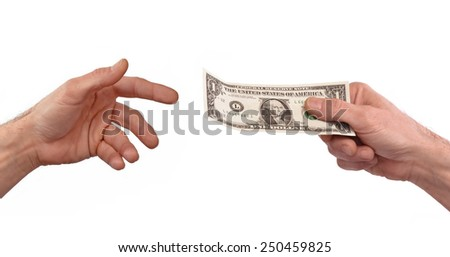 Paying money. Giving one dollar bill to another person. - stock photo
