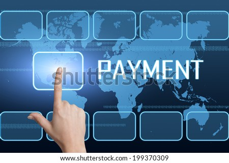Payment concept with interface and world map on blue background - stock photo
