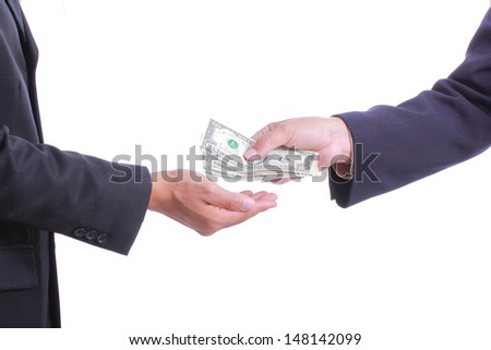Payment dollor to hand with white background
