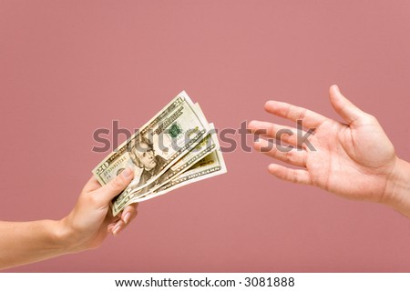 payment hands + PATH - stock photo