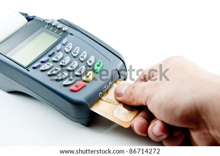 payment machine and Credit card - stock photo