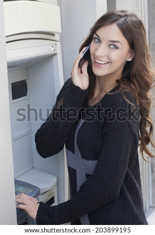 payment of money and talking on the street - stock photo