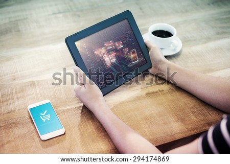 Payment successful screen against stocks and shares - stock photo