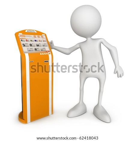Payment termina. Small unrecognizable people on 3D high quality render. Image isolated on white background. - stock photo