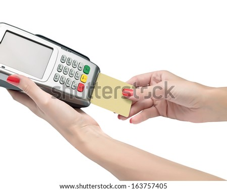 payment terminal, card and hand on white background isolated  - stock photo