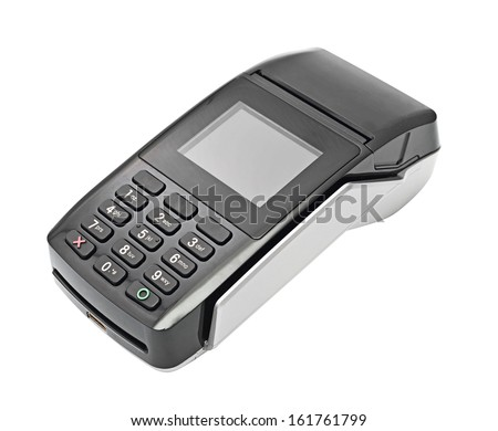 payment terminal, on white background isolated - stock photo