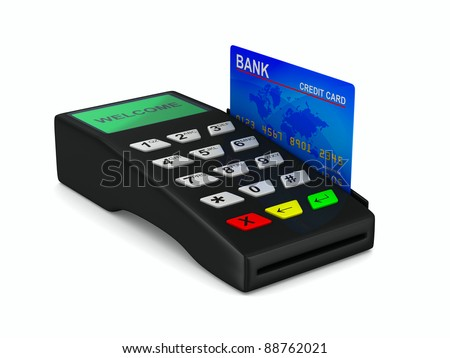 payment terminal on white background. Isolated 3d image - stock photo