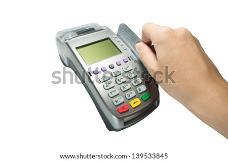 payment terminal with a card isolated on white background - stock photo