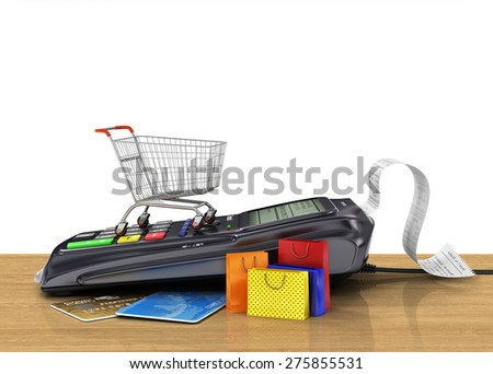 Payment terminal with credit card, shopping cart and shopping bag on the shop, credit card reader, sales concept. - stock photo