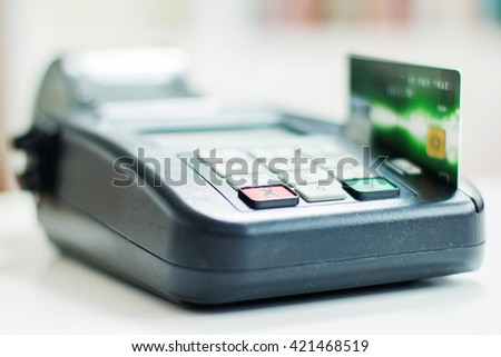 Payment with credit card by paying POS terminal.