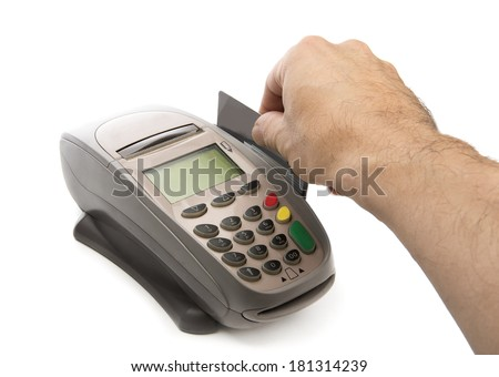 Payment with credit card through the terminal isolated on white background - stock photo
