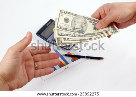 Payout Day on a background with a diagram, a pen and a calculator - stock photo