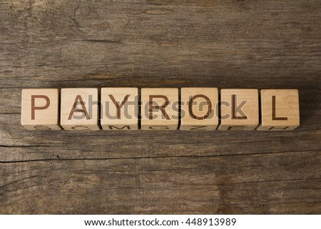 PAYROLL word in vintage wooden blocks - stock photo