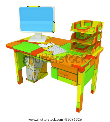 PC desk 3d model, over white, isolated - stock photo