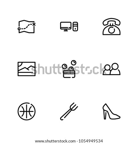 Pc Icon Map Shoe Money Symbols Stock Illustration 1054949534