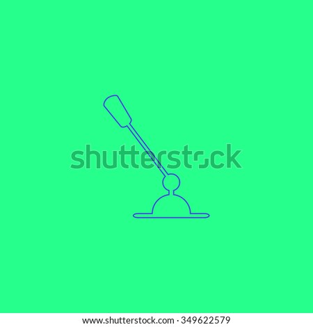 PC Microphone. Simple outline illustration icon on green background