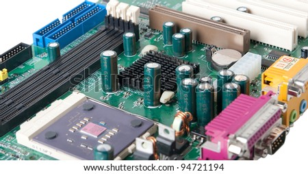 PC motherboard. Computer. Motherboard. Isolated on a white background. Clipping path. - stock photo