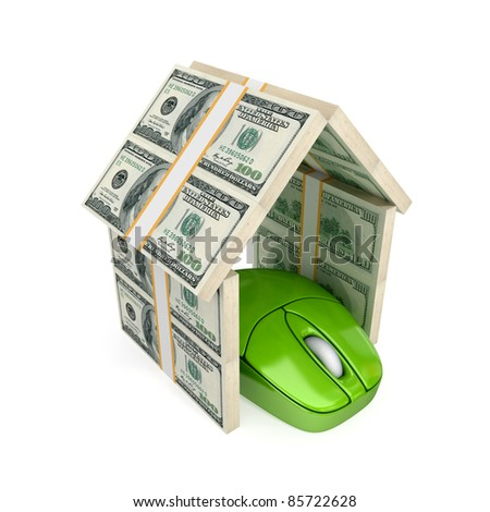 PC mouse under the roof made of dollars. Isolated on white background. 3d rendered. - stock photo