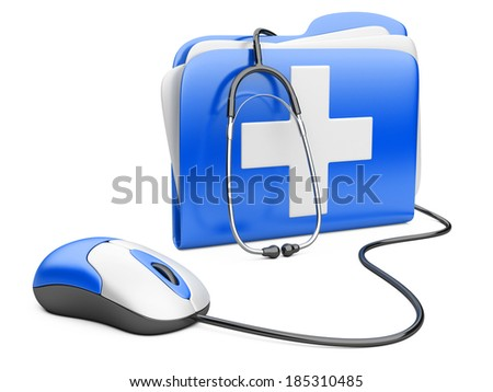 PC mouse with blue folder and white cross.  PC computer first aid concept.