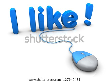 "Pc-mouse with blue text ""I like !"". White background. - stock photo"