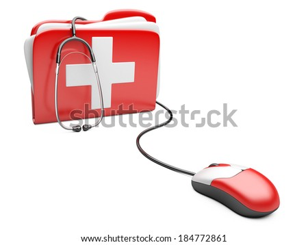 PC mouse with red folder and white cross.  PC computer first aid concept.