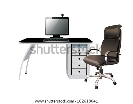 pc on table isolated on white background with clipping path