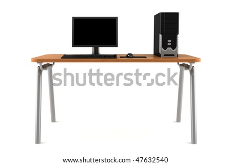 pc on table isolated on white background with clipping path - stock photo